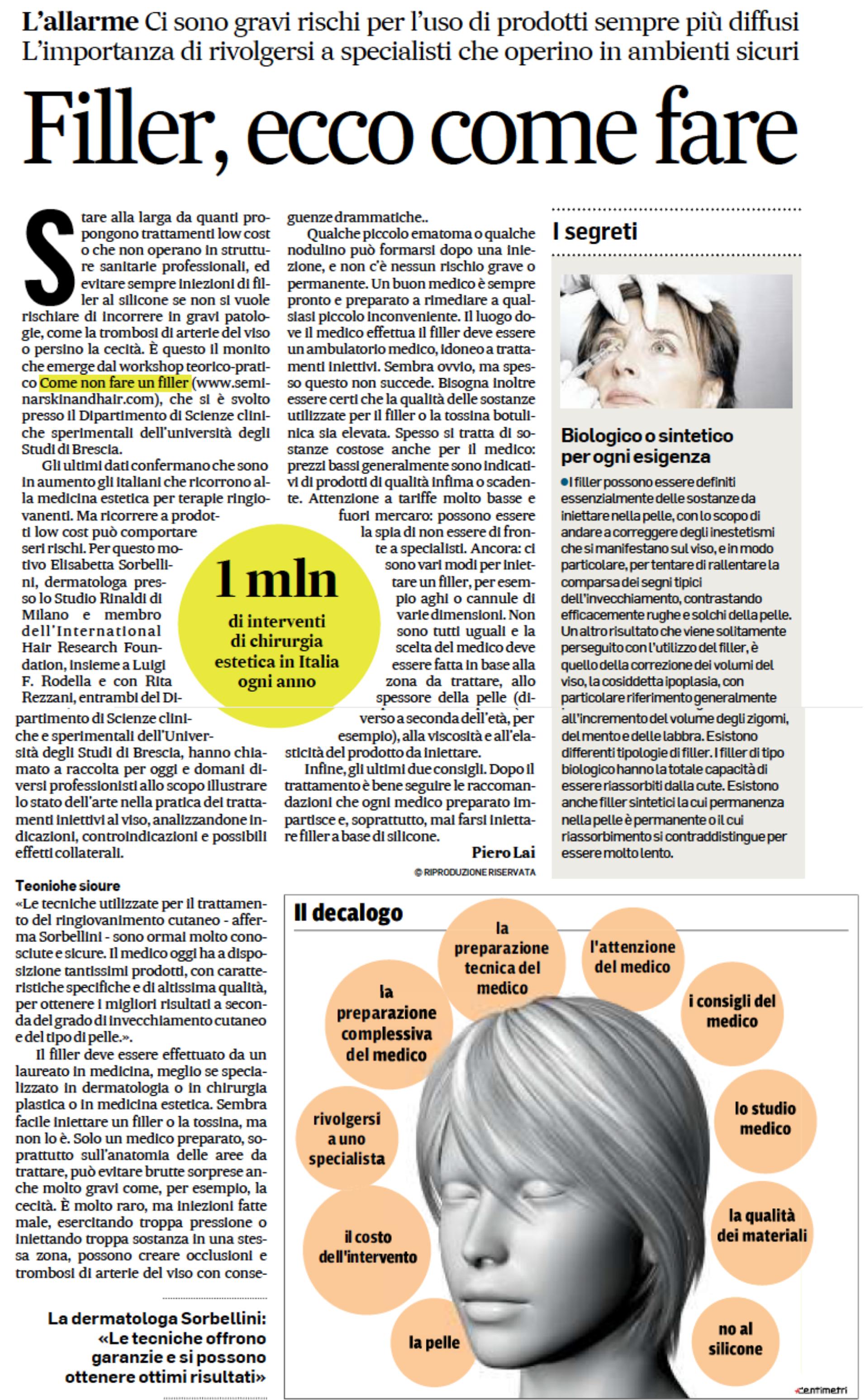 Dottoressa Elisabetta Sorbellini inteviene sui filler per Salute e Fitness su Corriere Adriatico